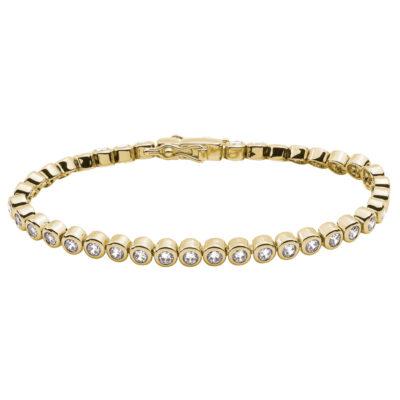 TENNIS Armband, vergoldet, Zirkonia