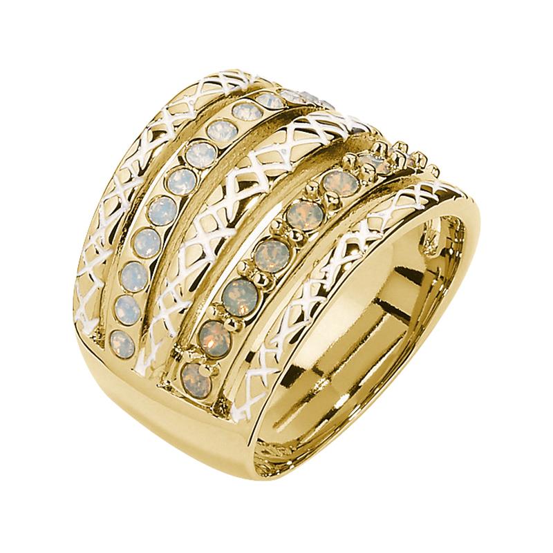 HEAVEN Ring, vergoldet, milch-opal