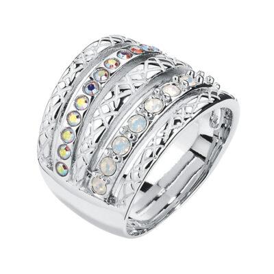 HEAVEN Ring, rhodiniert, milch-opal