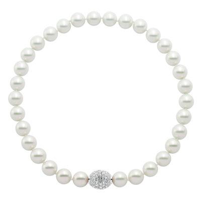AVA Collier, rhodiniert, weiß, kristall-farbig