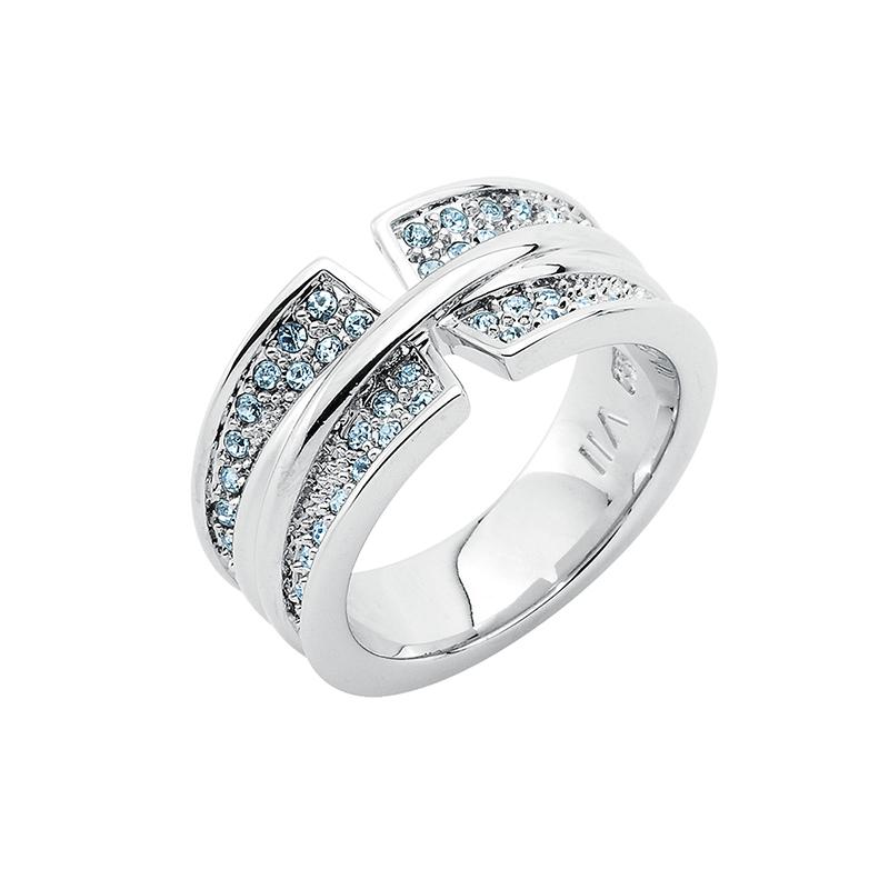 CORSAGE Ring, rhodiniert, hell saphir