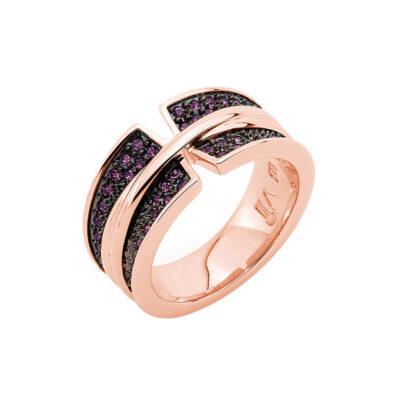 CORSAGE Ring, rosè vergoldet, amethyst