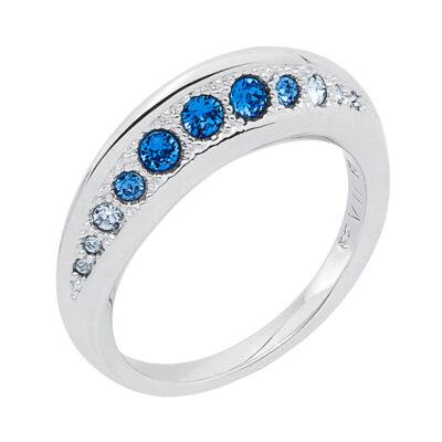 GALAXY FLAME Ring, rhodiniert, multi-blau