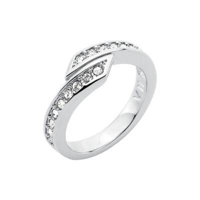 FLORETTA Ring, rhodiniert, kristall-farbig