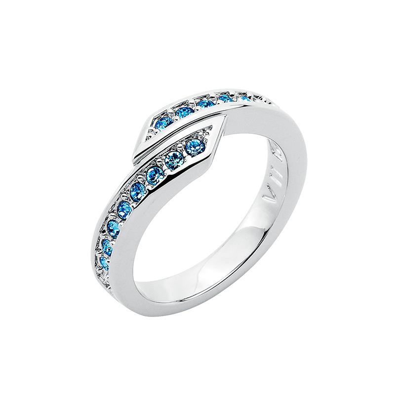 FLORETTA Ring, rhodiniert, multi-blau