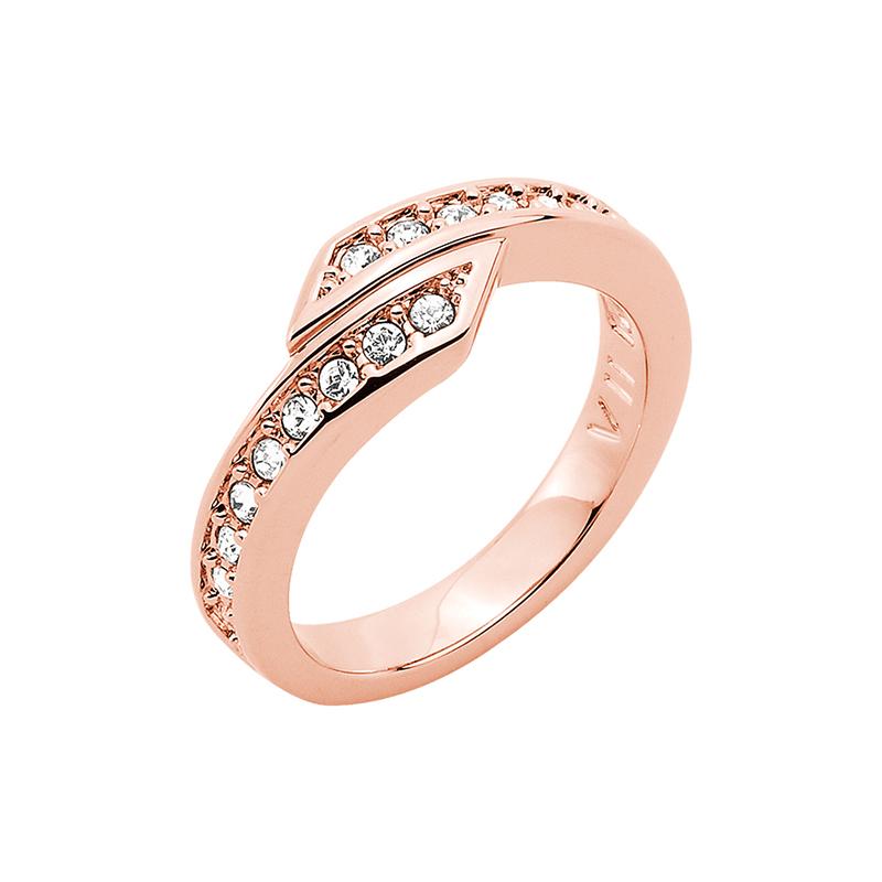 FLORETTA Ring, rosè vergoldet, kristall-farbig