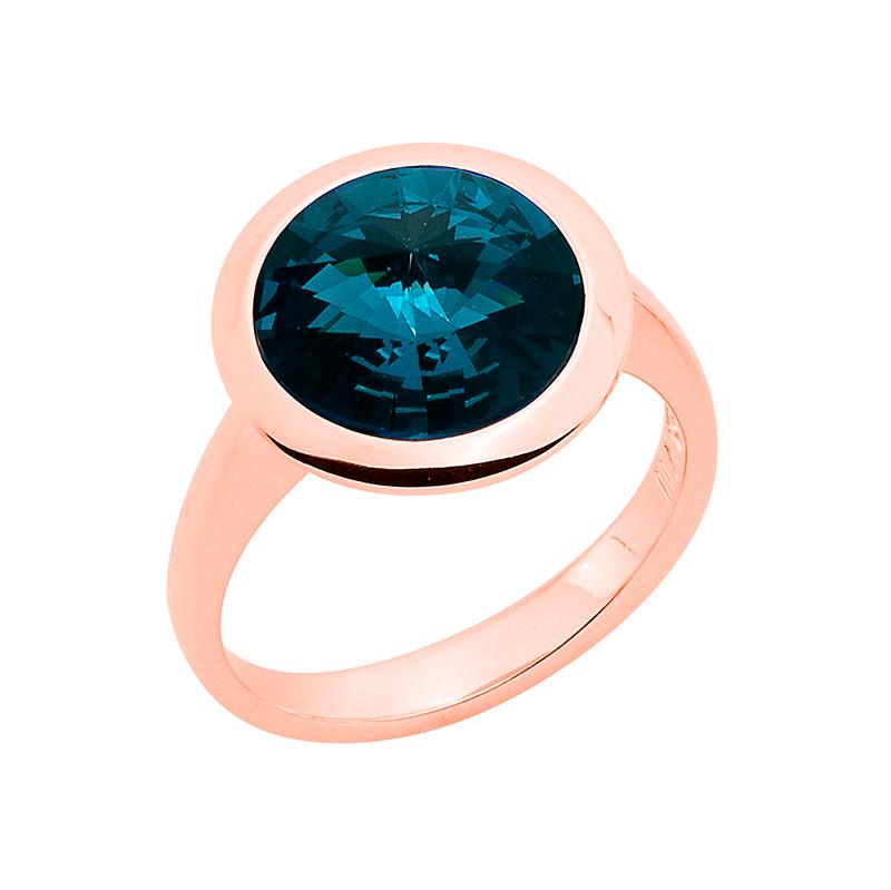 GALAXY STAR Ring, rosè vergoldet, dunkel blau