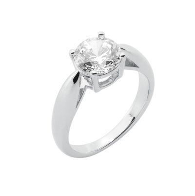 SHINE Ring, rhodiniert, Zirkonia