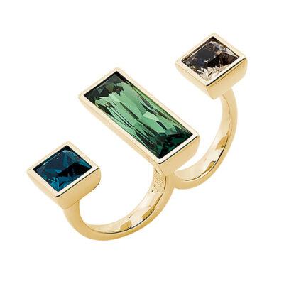 WUNDERKIND Ring, vergoldet, hell braun, grün, smaragd