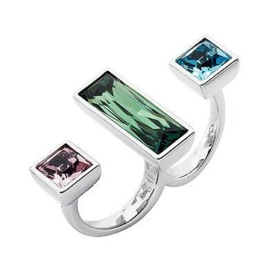 WUNDERKIND Ring, rhodiniert, aquamarin, grün, hell lavendel