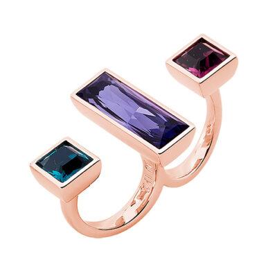 WUNDERKIND Ring, rosè vergoldet, amethyst, violett, smaragd