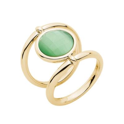 POWER & LOVE Ring, vergoldet, grün