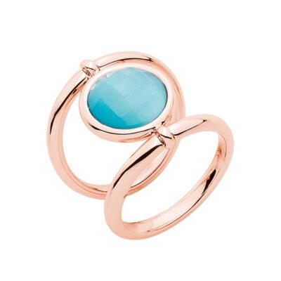 POWER & LOVE Ring, rosè vergoldet, hell blau