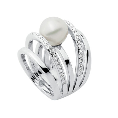 LOVELY Ring, rhodiniert, weiß, kristall-farbig