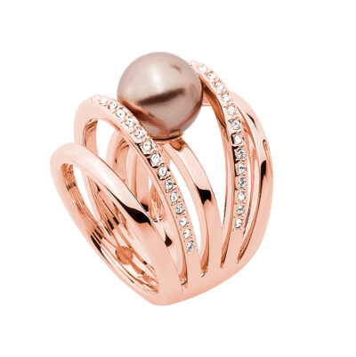 LOVELY Ring, rosè vergoldet, metallic beige, kristall-farbig