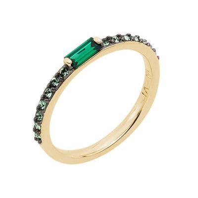 SUGAR BAGUETTE Ring, vergoldet, smaragd, grün