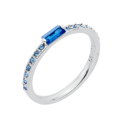 SUGAR BAGUETTE Ring, rhodiniert, blau, saphirblau