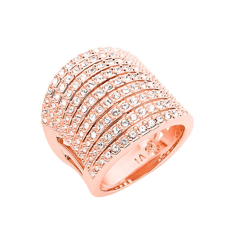 SUGAR RUSH Ring, rosè vergoldet, kristall-farbig