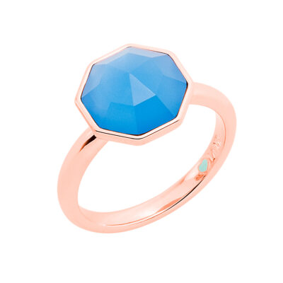 FELICITA Ring, rosè vergoldet, blau