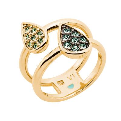 DANCING DROPS Ring, vergoldet, hell grün, grün