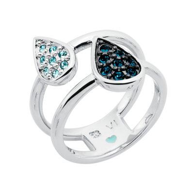 DANCING DROPS Ring, rhodiniert, dunkel blau, hell aquamarin