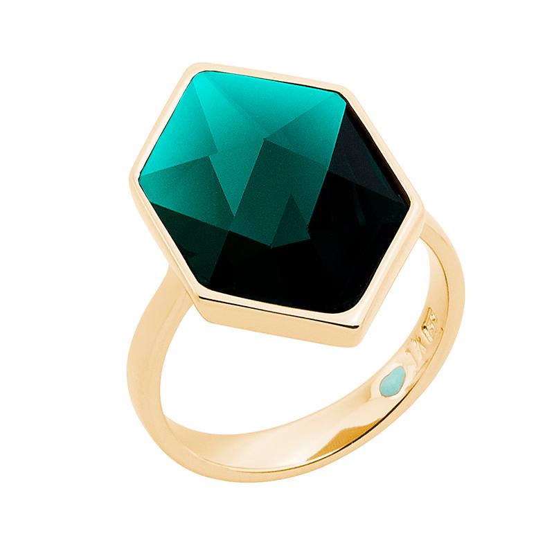 STYLE WONDER Ring, vergoldet, grün