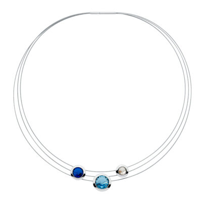 GALAXY STAR Collier, rhodiniert, saphirblau, aquamarin, kristall-farbig