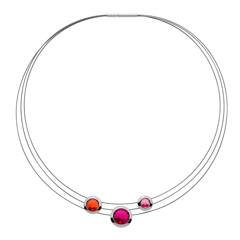GALAXY STAR Collier, rutheniert, orange, zyklam, pink