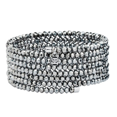 GLAMOROUS BANGLE Armreif, rhodiniert, metallic grau