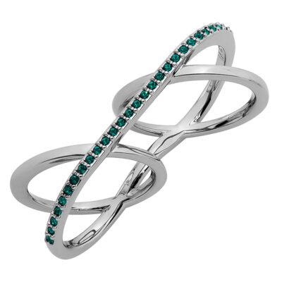 LA CROISETTE Ring, rutheniert, smaragd