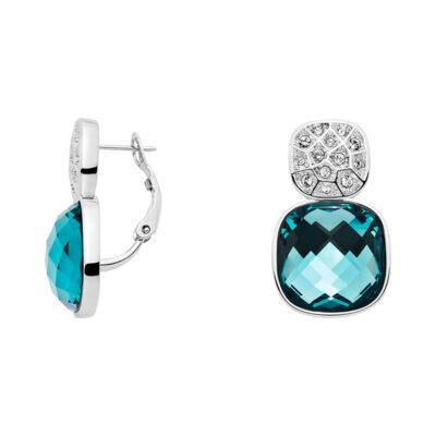 DOLCE VITA Ohrcreole, rhodiniert, hell blau, kristall-farbig