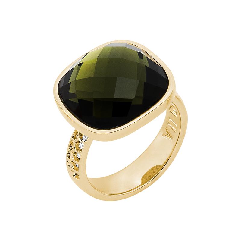 DOLCE VITA Ring, vergoldet, olivin, kristall-farbig