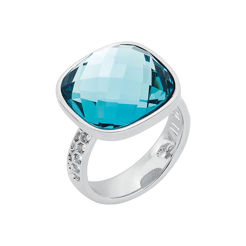 DOLCE VITA Ring, rhodiniert, hell blau, kristall-farbig