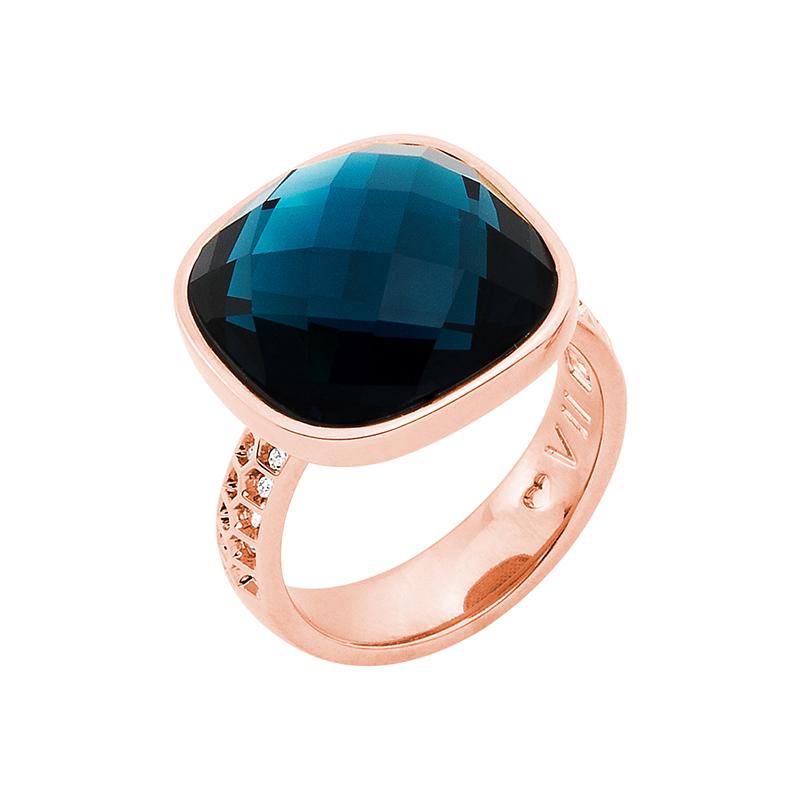 DOLCE VITA Ring, rosè vergoldet, dunkel blau, kristall-farbig