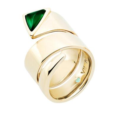 MANHATTAN Ring, vergoldet, grün