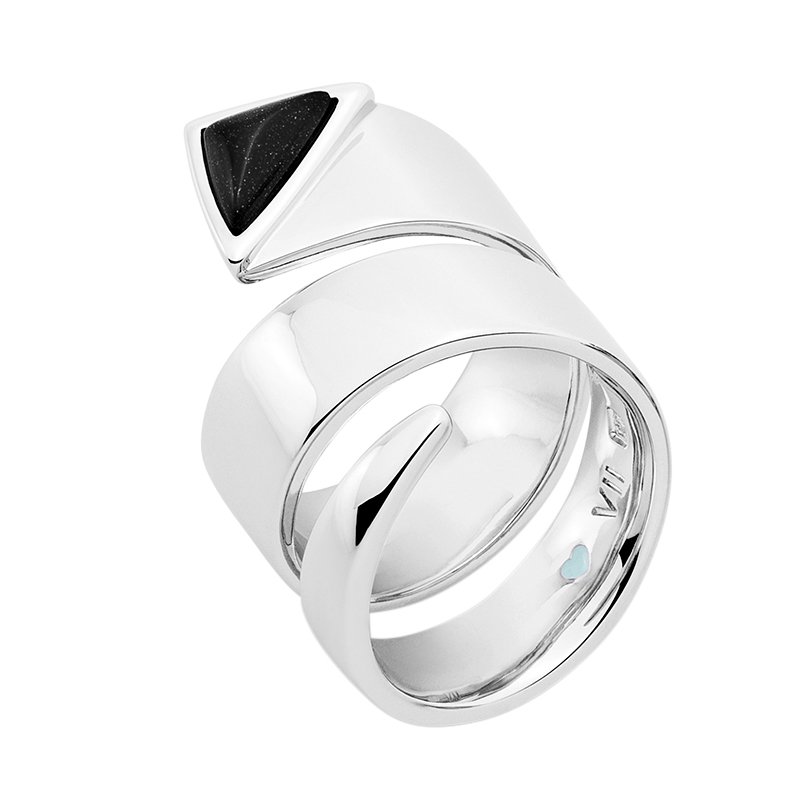 MANHATTAN Ring, rhodiniert, schwarz