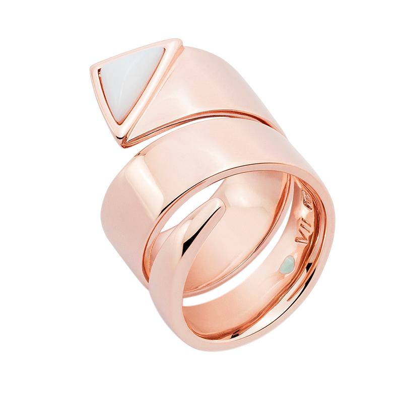 MANHATTAN Ring, rosè vergoldet, weiß