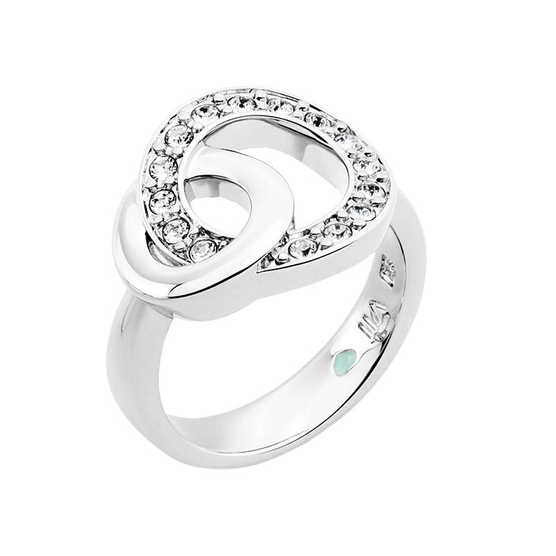 OPERA Ring, rhodiniert, kristall-farbig