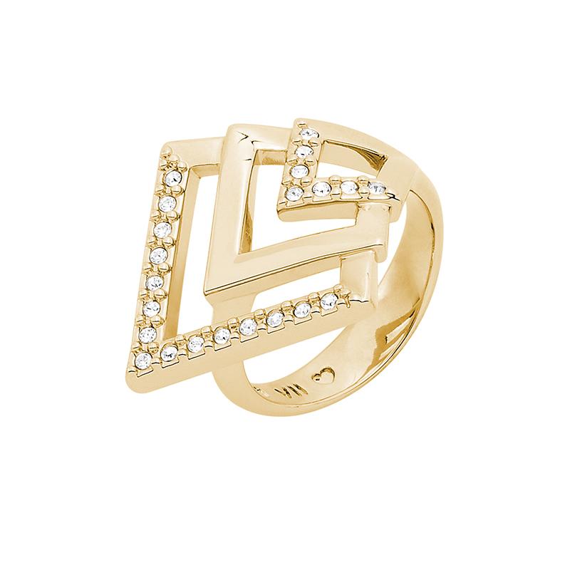 VIENNA Ring, vergoldet, kristall-farbig