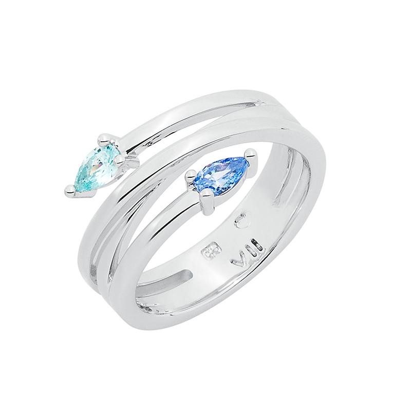 HONEY CANDY Ring, rhodiniert, blau, hell türkis