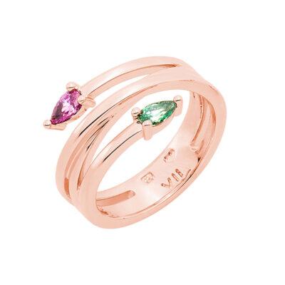HONEY CANDY Ring, rosè vergoldet, pink, grün