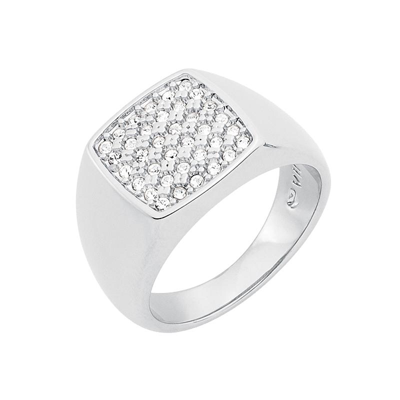 SUGAR DANDY Ring, rhodiniert, kristall-farbig