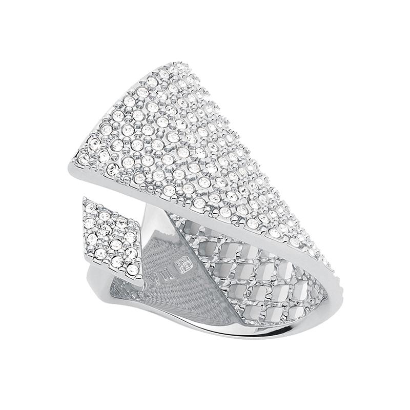SUGAR PYRAMID Ring, rhodiniert, kristall-farbig