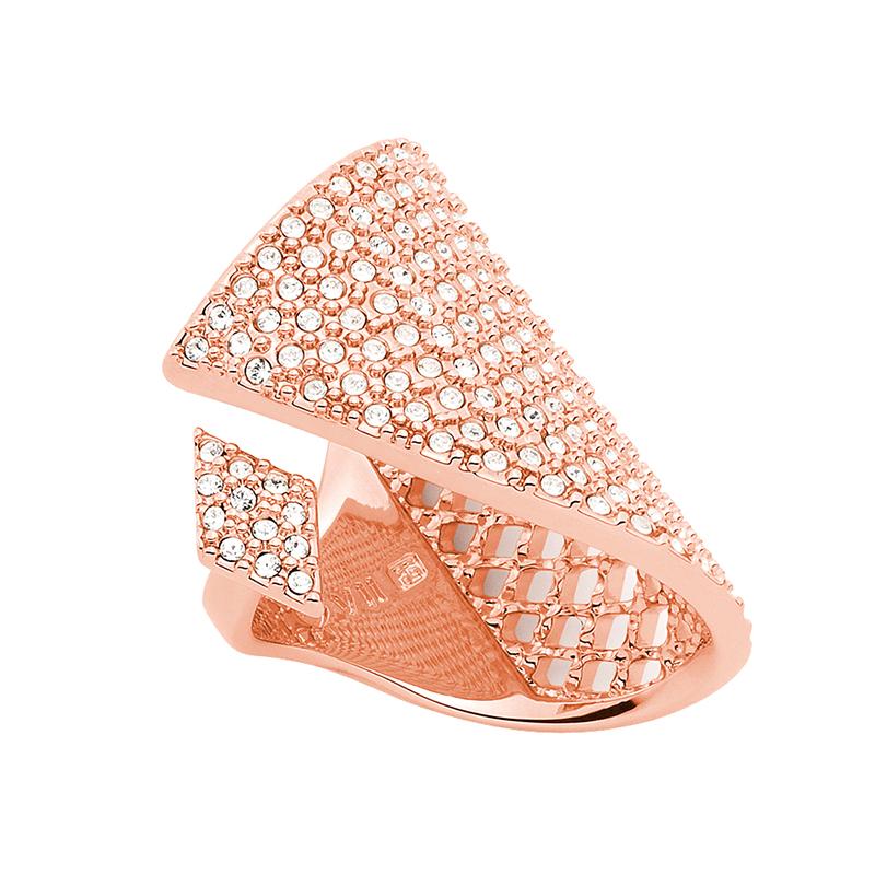 SUGAR PYRAMID Ring, rosè vergoldet, kristall-farbig