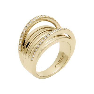 SUGAR LOOP Ring, vergoldet, kristall-farbig