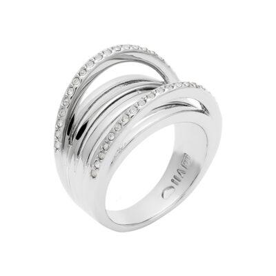 SUGAR LOOP Ring, rhodiniert, kristall-farbig
