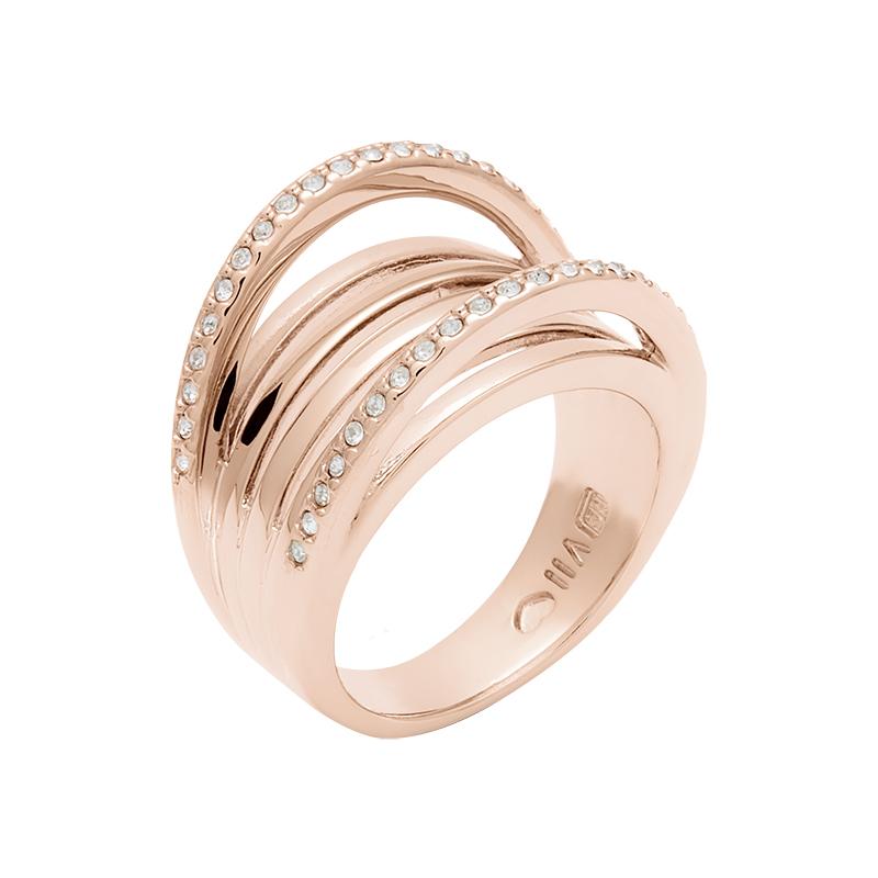 SUGAR LOOP Ring, rosè vergoldet, kristall-farbig