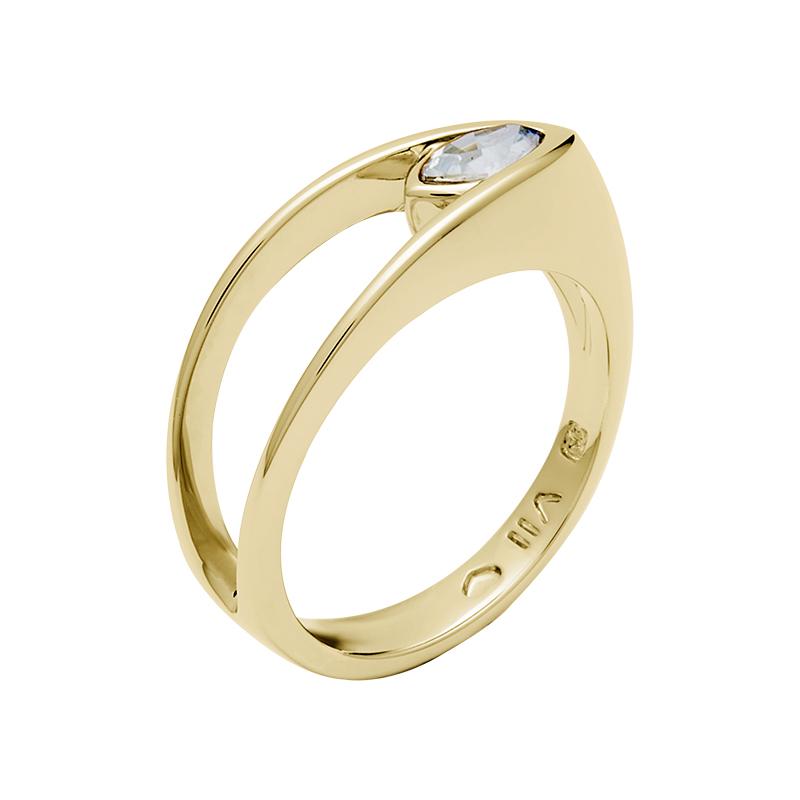 BALLERINA Ring, vergoldet, hell grau
