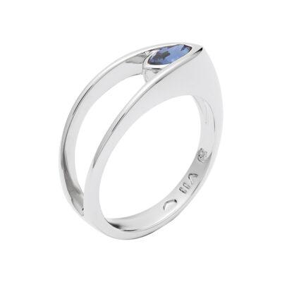 BALLERINA Ring, rhodiniert, dunkel blau