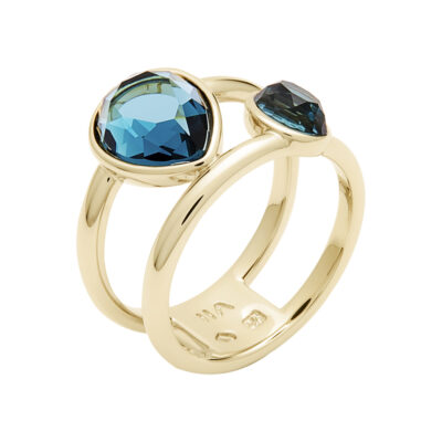 LUXOR Ring, vergoldet, blau